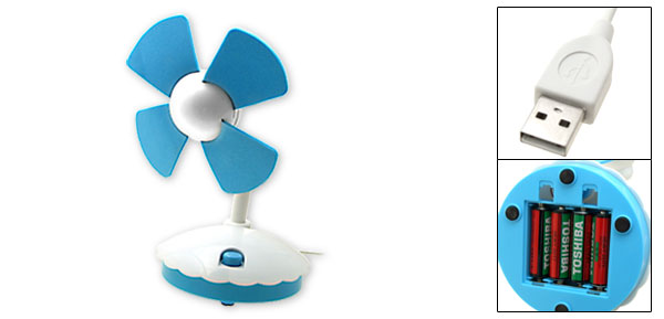 Without Noise Mini USB Desktop Fan PC Computer Laptop White and Blue