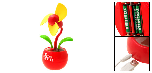 Mini Portable Soft Red Apple Base USB Fan for PC Computer Laptop