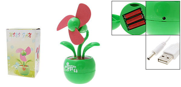 Flower Red Soft Blades Green Apple USB Fan for PC Computer Laptop