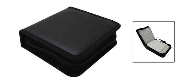 Portable Black Rectangle Leather CD Carrying Storage Case Bag Holder