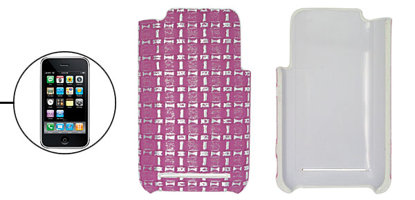Hard Plastic Back Case Cover with Purple Checked Design for Apple iPhone 3G