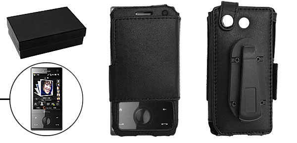 Black Hang Clip Leather Protector Holder Case with Cover for HTC Diamond
