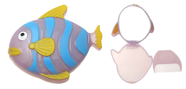 Yellow Blue Plastic Cartoon Fish Mirror with Comb