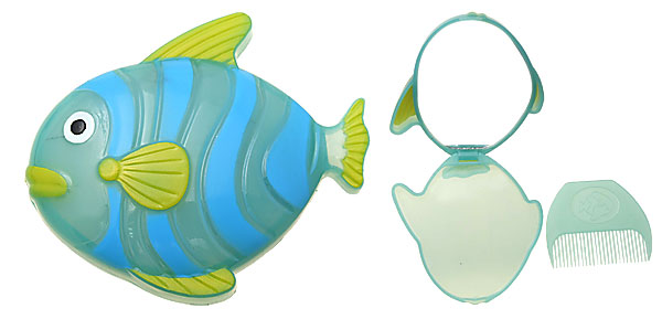 Plastic Green Yellow Blue Cartoon Fish Mirror with Comb