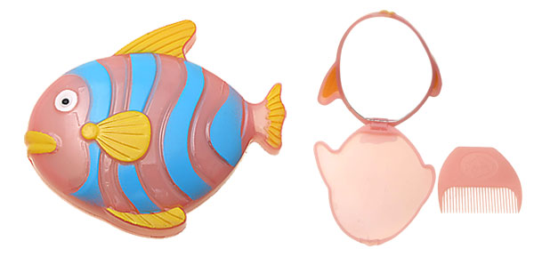 Pocket Pink Yellow Blue Cartoon Fish Lady's Mirror with Comb