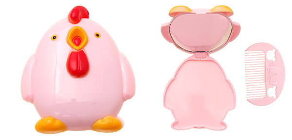 Pink Chick Shape Folding Mirror with Comb