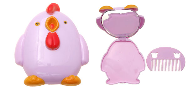 Purple Cartoon Penguin Two-double Mirror with Comb