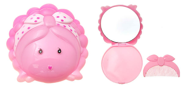Pink Cartoon Cute Girl Mirror with Comb