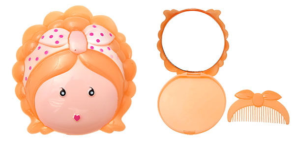 Orange Cartoon Cute Girl Mirror with Comb