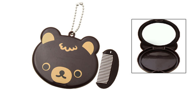 Portable Small Brown Cartoon Bear Folding Makeup Mirror