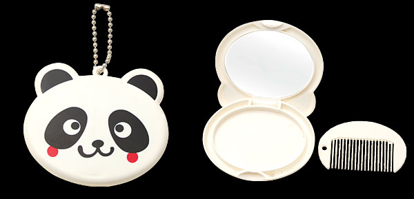 White Black Cartoon Plastic Panda Girls' Mirror with Comb