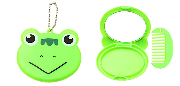 Green Cartoon Frog Pocket Make Up Mirror with Comb