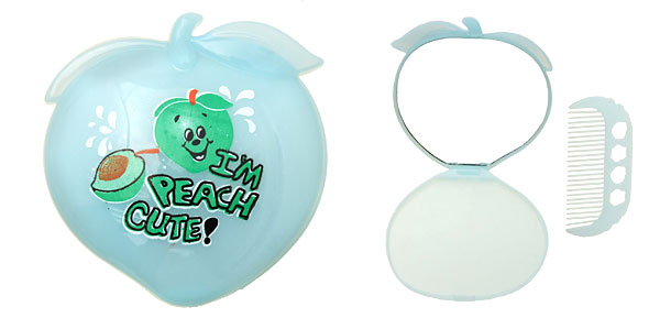Light Blue Happy Peach Shape Girls' Mirror with Comb