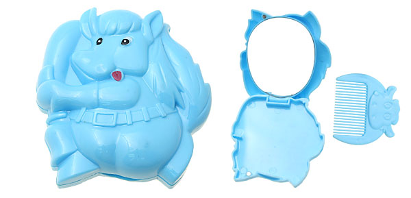 Blue Cartoon Horse Makeup Mirror with Comb