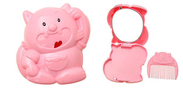 Pink Cartoon Tiger Makeup Mirror with Comb