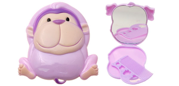 Small Purple Lovely Cartoon Monkey Folding Makeup Mirror