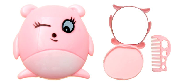 Pink Cartoon Cute Animal Mirror with Comb