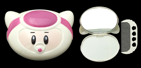 White Fuchsia Cartoon Cat Compact Mirror with Comb