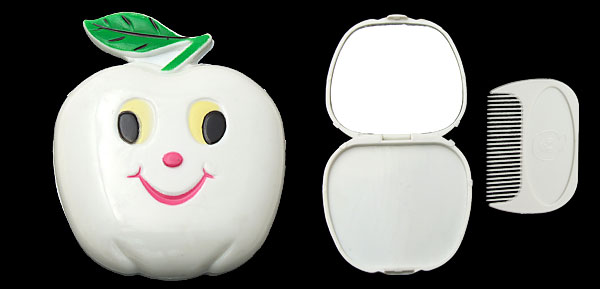 White Cartoon Apple Portable Mirror with Comb
