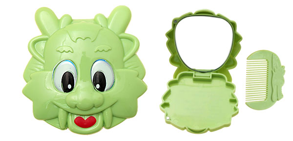 Green Cartoon Animal Mirror with Comb