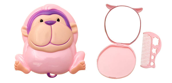 Pink Cartoon Plastic Monkey Makeup Mirror with Comb