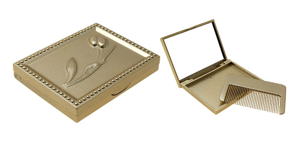 Fashion Lady's Rectangle Pocket Mirror with Small Comb
