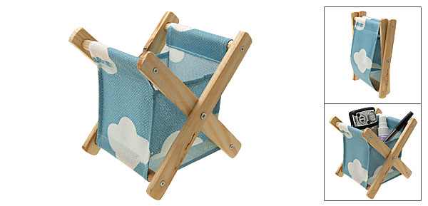 Folding Sky Blue Cloth Wooden Stand Desk Gadget Pen Phone Box Holder