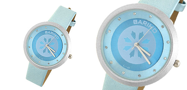 Blue Leather Watchband Round Watch Case Ladies' Quartz Wrist Watch