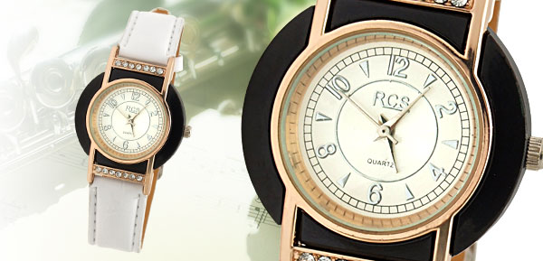 Fashion Ladies Quartz Wrist Watch with White Leather Strap