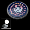 Navy Blue Round with Pink Heart Pattern Pocket Mirror