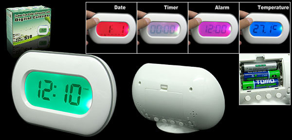 Inductive Sensor LED Color Changing LCD Digital Desk Alarm Clock White