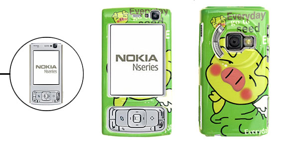 Green Piggy Pattern Hard Plastic Mobile Cell Phone Case Cover Protector for Nokia N95
