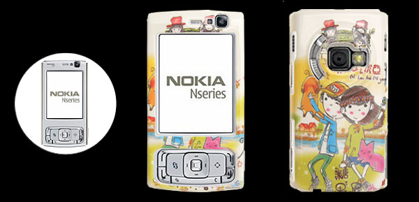 Lovers Pattern Hard Plastic Mobile Cell Phone Case Cover Protector for Nokia N95