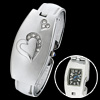 Charm Ladies Heart Fashion Bangle Bracelet Watch Silvery