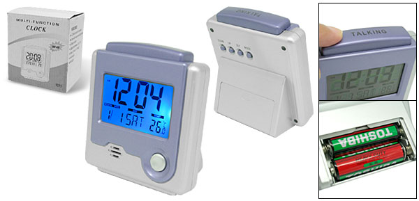 Portable Desktop LCD Digital Talking Alarm Clock with Thermometer