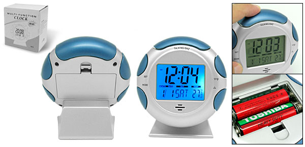 Round Desktop LCD Digital Talking Alarm Clock with Thermometer