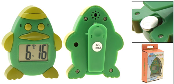 Portable Green Cartoon Happy Duck Shaped Clip Alarm Clock