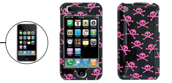 Black Hard Plastic Case with Pink Skull for Apple iPhone 3G