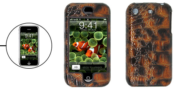 Plastic Hard Case with Snakeskin Design Leather for Apple iPhone
