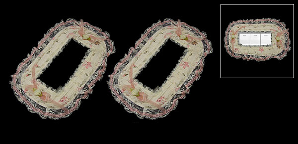 Pair Lace Ornate Wall 3 Gang Power Switch Cover Light Yellow & Pink