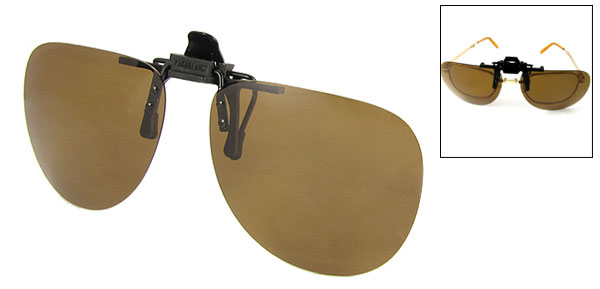 Brown Ellipse Flip Up Clip On Specs Glasses Sunglasses Polarized Lens