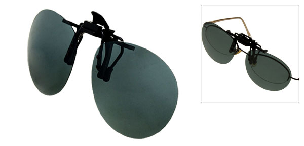 Greenblack Oval Flip Up Clip On Glasses Sunglasses Polarized Lens