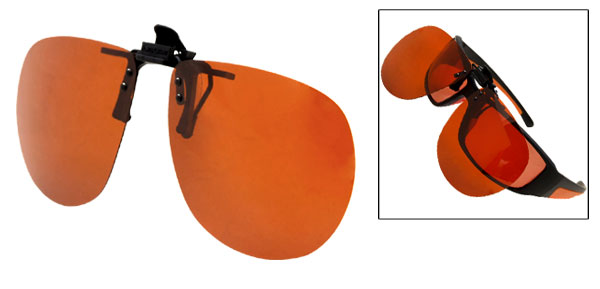 Orange Polarized Lens Sunglasses Removable Clip-on