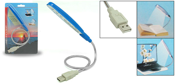 7 LED Flexible Blue USB Notebook Laptop Reading Lamp Light