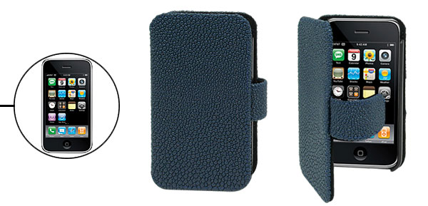Navy Blue Magnetic Closed Anti-Slip Wallet Design Case for iPhone 3G