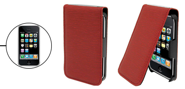 Vertical Leather Protective Cover Case Holder for Apple iPhone 3G Red