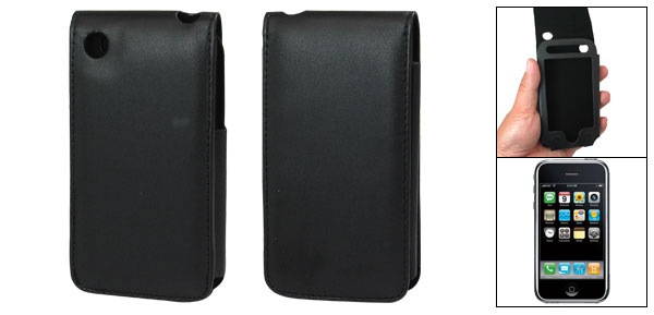 Vertical Leather Protective Cover Case Holder for Apple iPhone 3G Black
