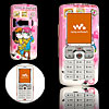 Pink Lovers Pattern Plastic Mobile Cell Phone Hard Case Cover for Sony Ericsson W800