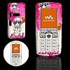 Cute Girl Pattern Amaranth Pink Plastic Mobile Cell Phone Hard Case Cover for Sony Ericsson W800