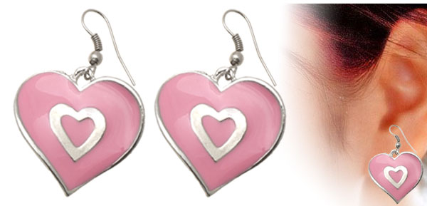 Pink Lovely Heart Shape Design Earrings